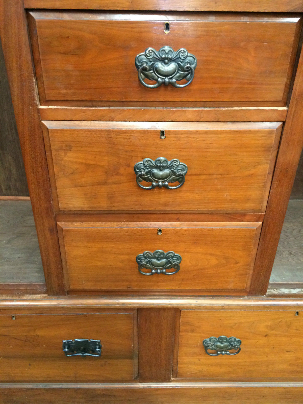 Antique Edwardian Carved Blackwood 4 Doors, 5 Drawers, Bevelled Mirror Wardrobe | Melbourne | Halsey Road Recyclers