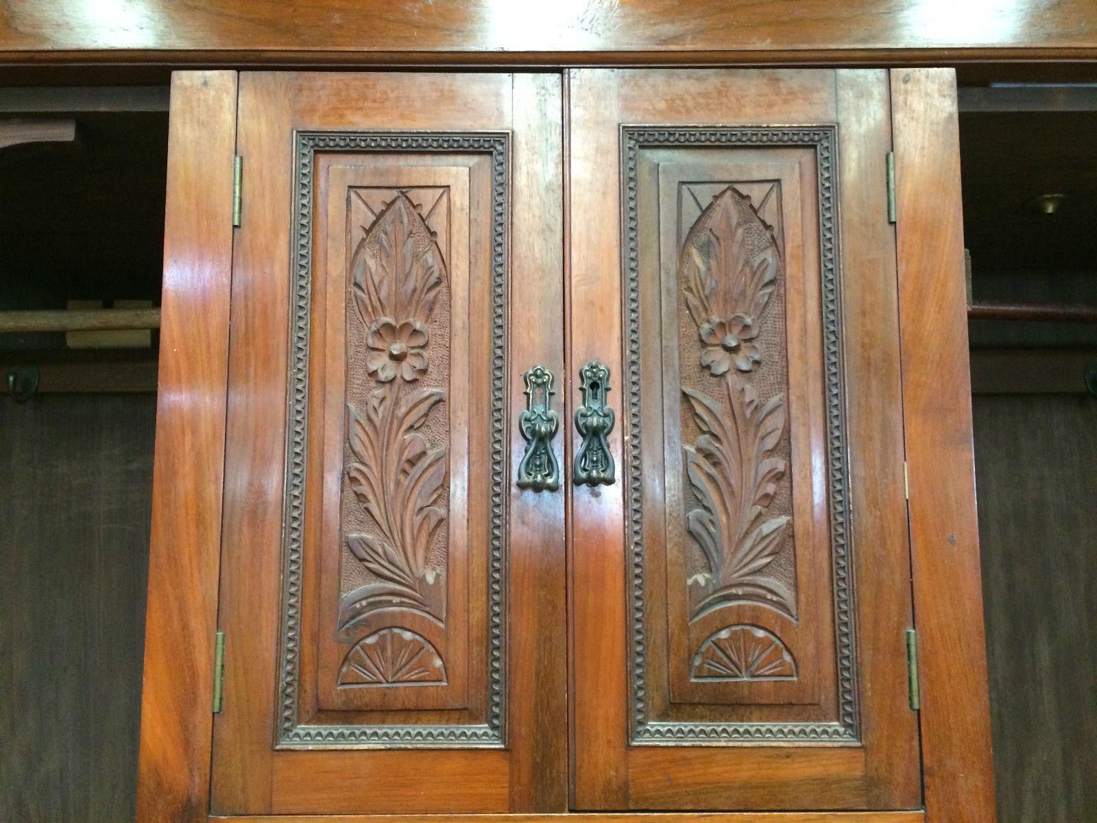 Antique Edwardian Carved Blackwood 4 Doors 5 Drawers