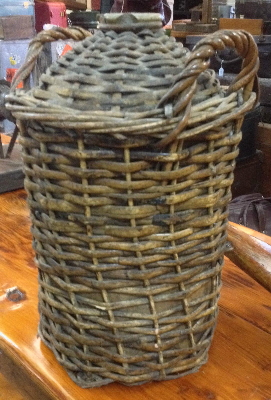 Large Vintage Antique Demijohn Jug Bottle In Wicker Cane Basker With Handles | Melbourne | Halsey Road Recyclers