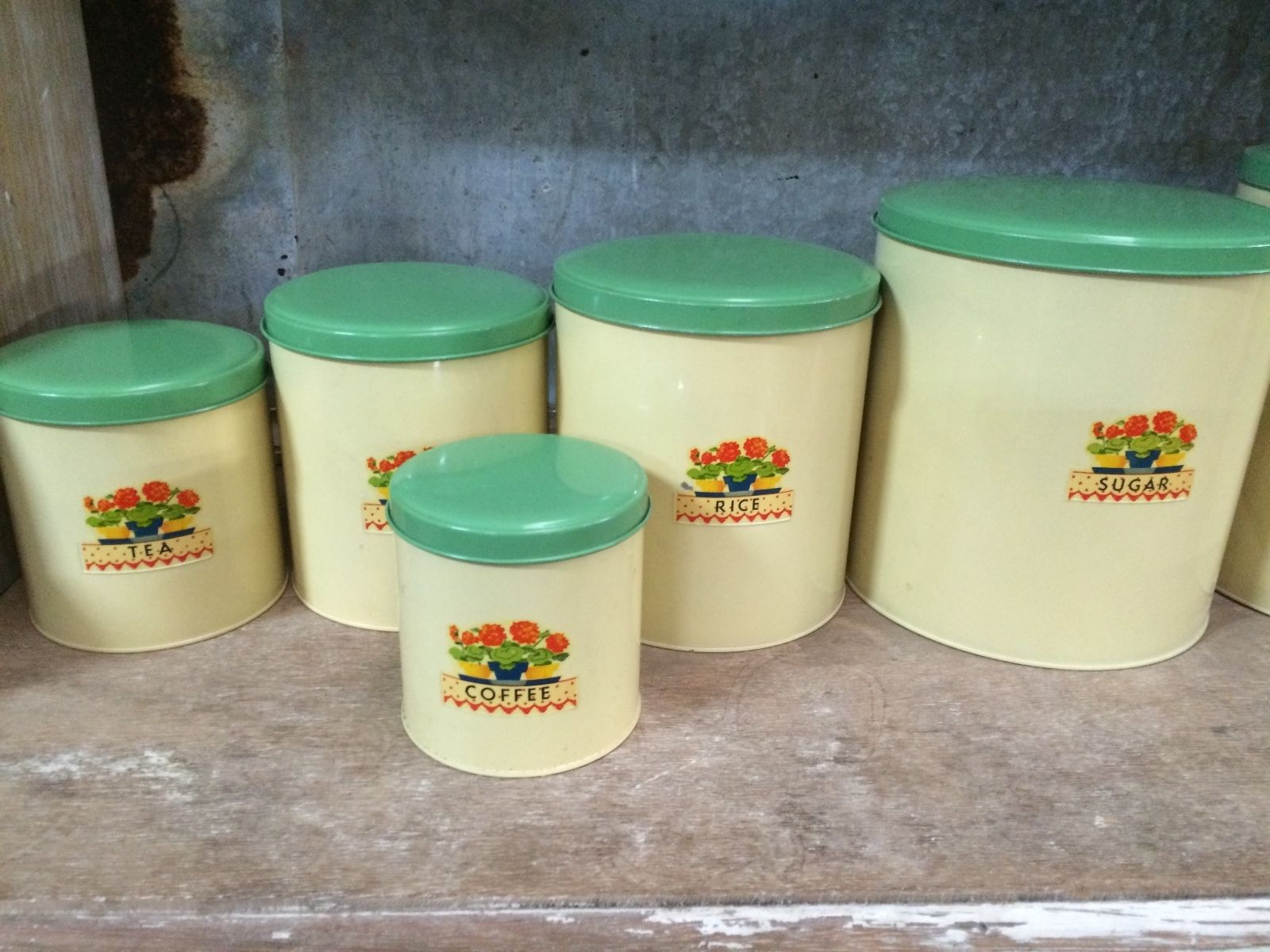 Set Of 6 Vintage Retro Metal Willow Kitchen Canisters | Melbourne | Halsey Road Recyclers