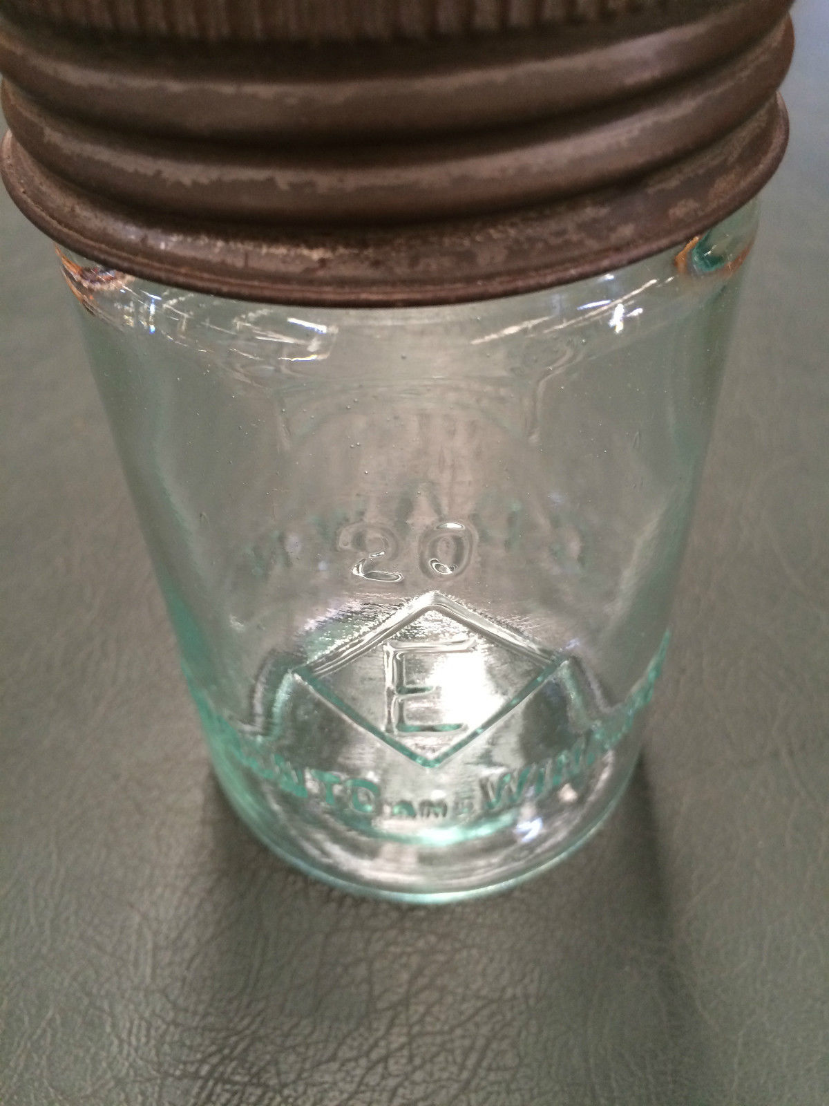 Vintage Crown Glass Mason Jar With Glass Amp Metal Lid Made