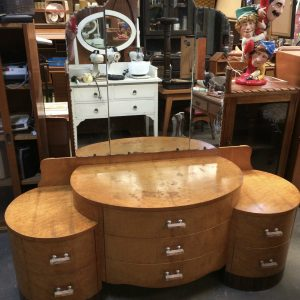 Art Deco Burr Walnut Veneer Glass Dressing Table | Melbourne | Halsey Road Recyclers