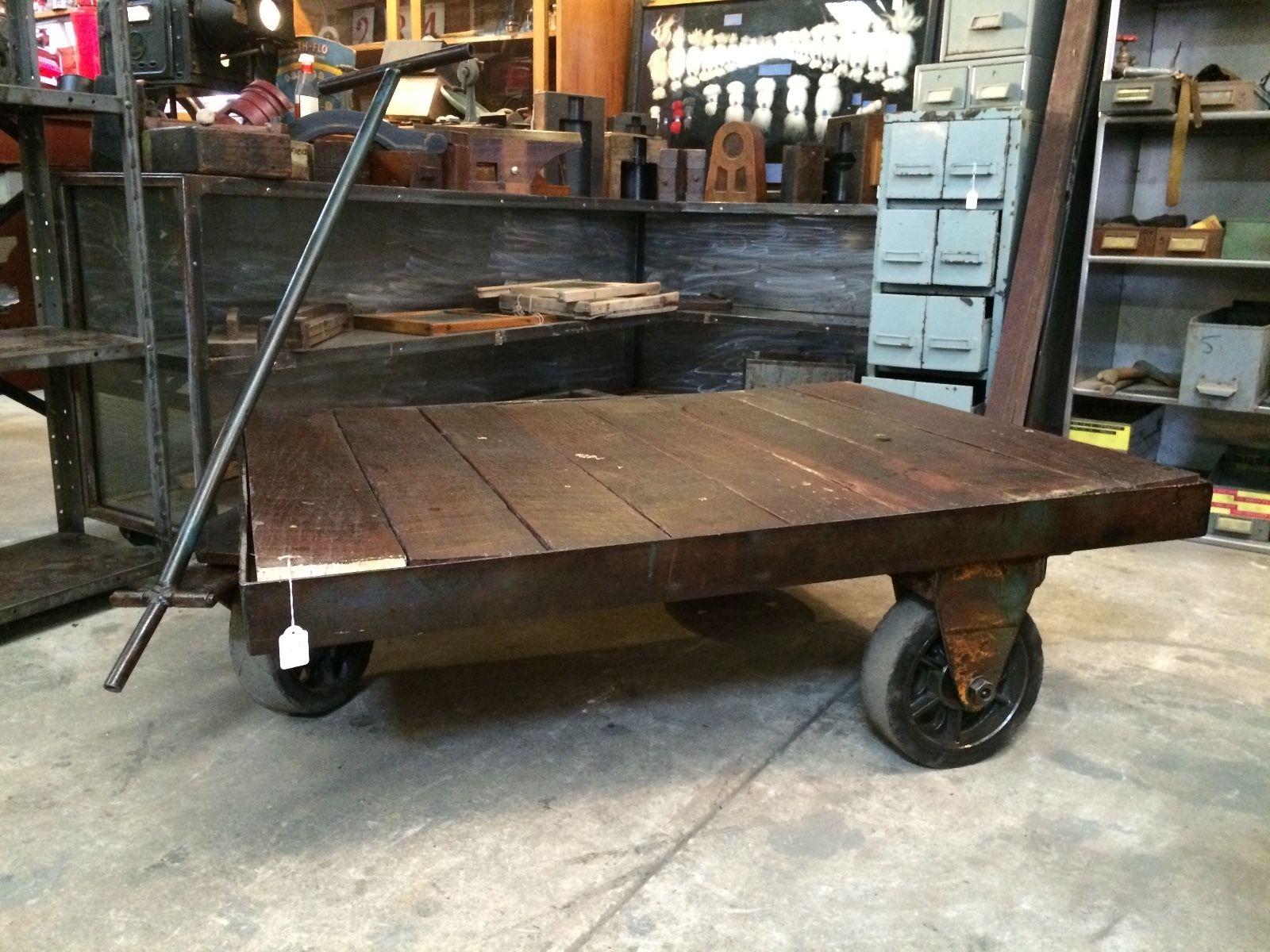 Industrial Vintage Timber Metal Trolley