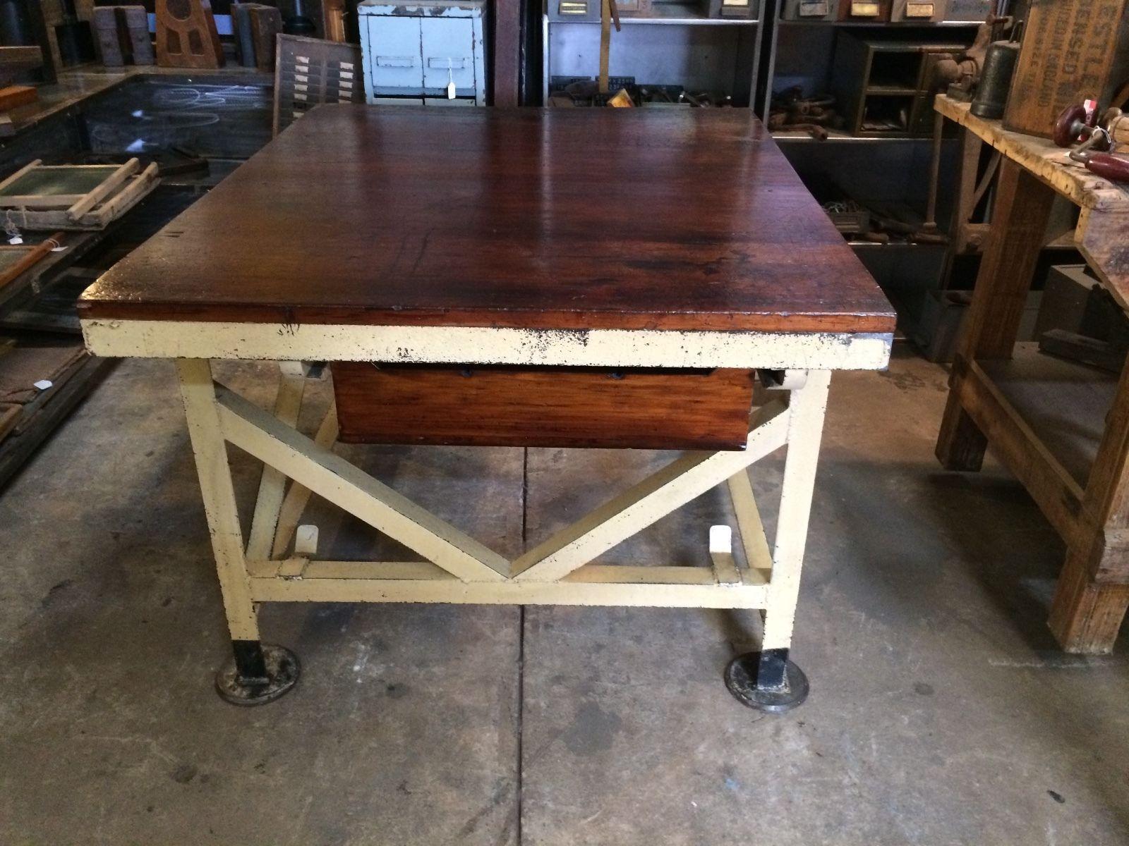 Vintage Industrial Rustic Table Work Bench Halsey Road