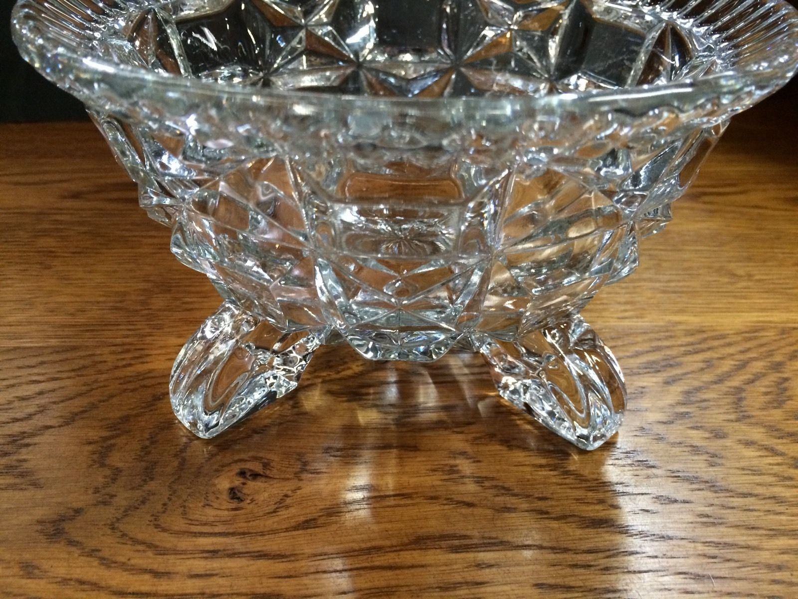 Vintage Art Deco Cut Glass Four Footed Bowl Halsey Road