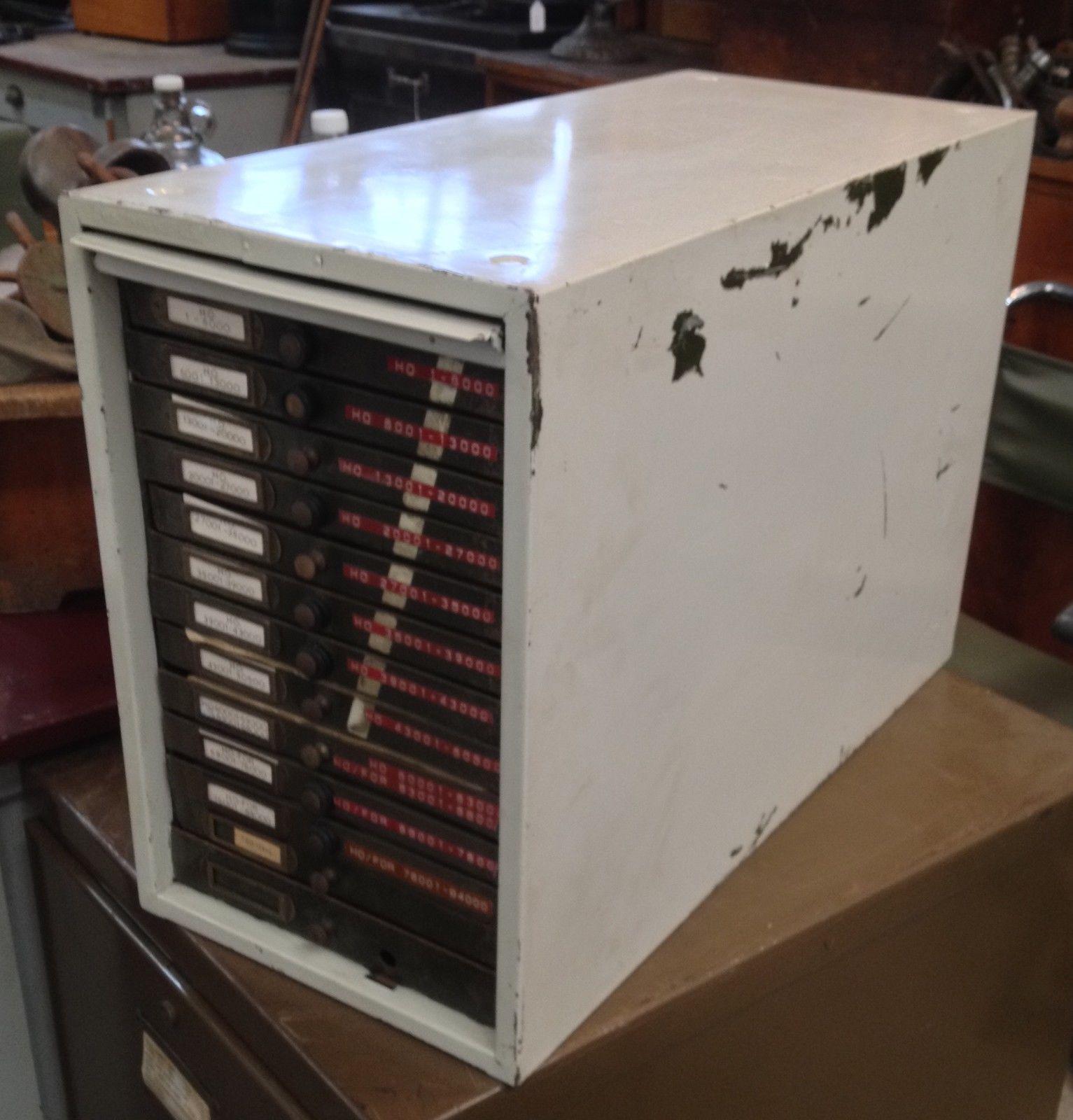 Industrial Vintage Cream Amp Army Green Metal 13 File Card