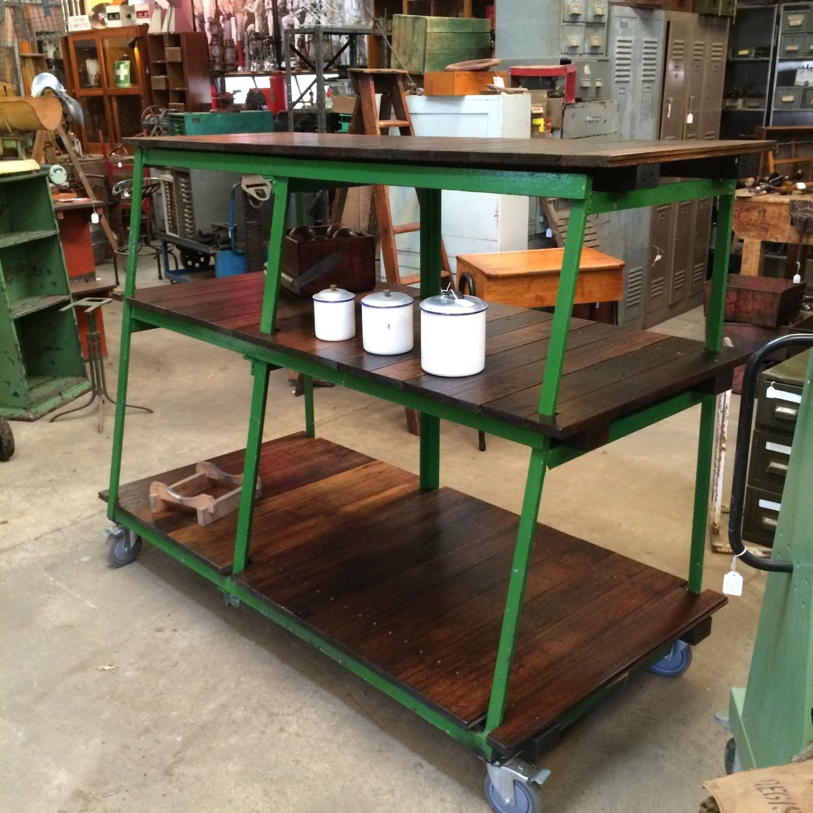 Industrial Kitchen Hire: Industrial Vintage Timber Rustic 3 Tier Shelving Bench
