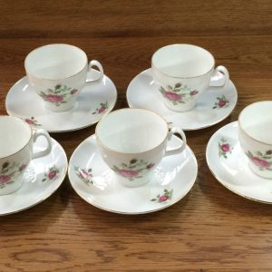 Set Of 5 Vintage Kronester Bavaria Cups & Saucers Floral Bouquet Gold Trim | Melbourne | Halsey Road Recyclers