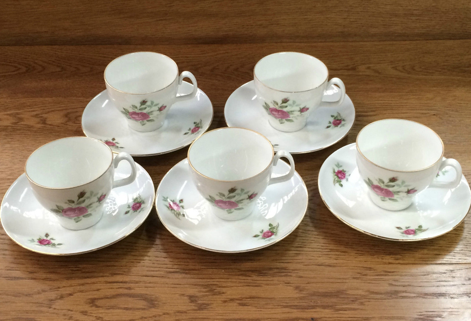 Set Of 5 Vintage Kronester Bavaria Cups & Saucers Floral Bouquet Gold Trim | Melbourne | Halsey Road Recyclers