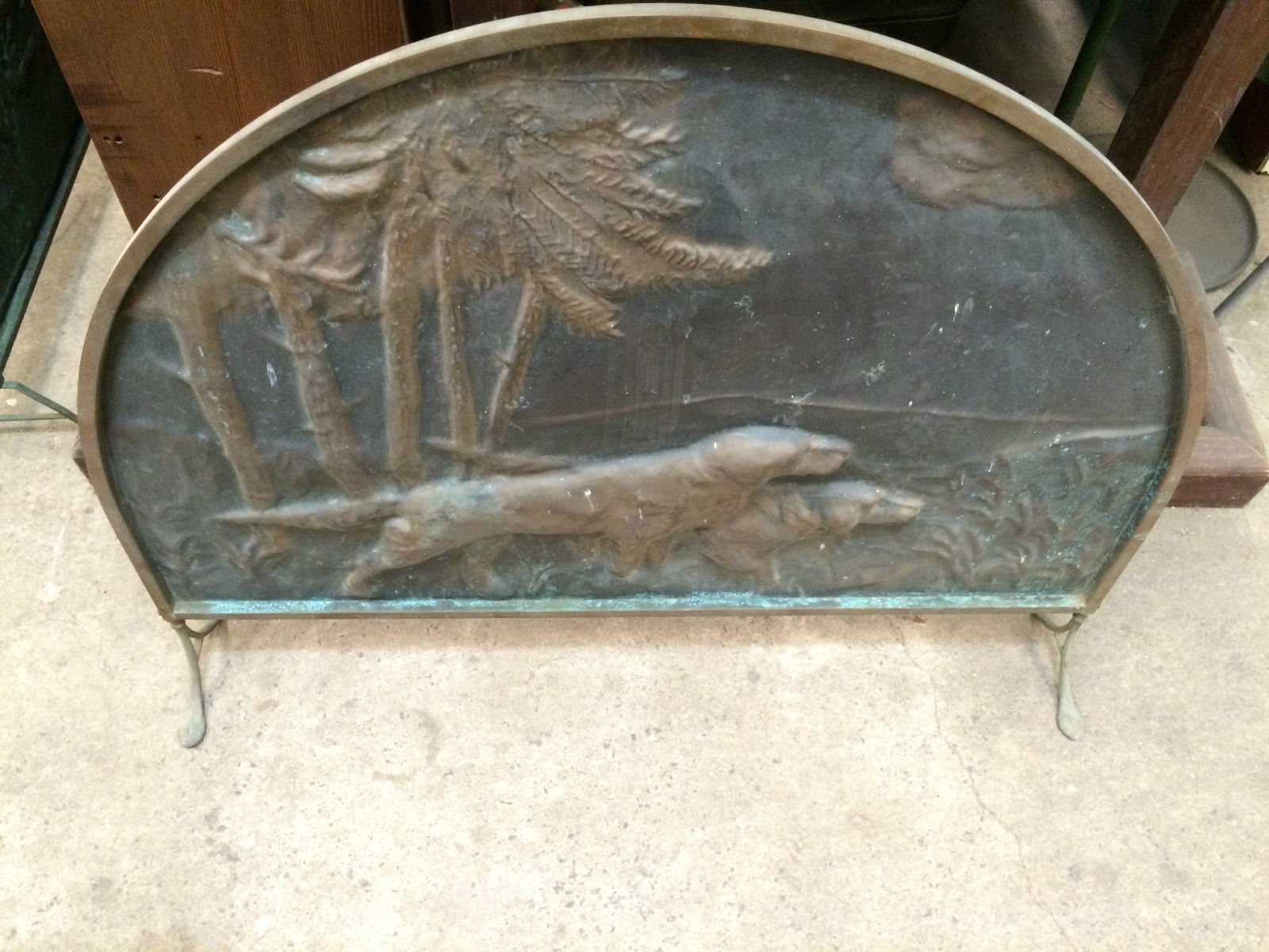 Vintage Brass Fire Screen Embossed Dog Hunting Scene | Melbourne | Halsey Road Recyclers