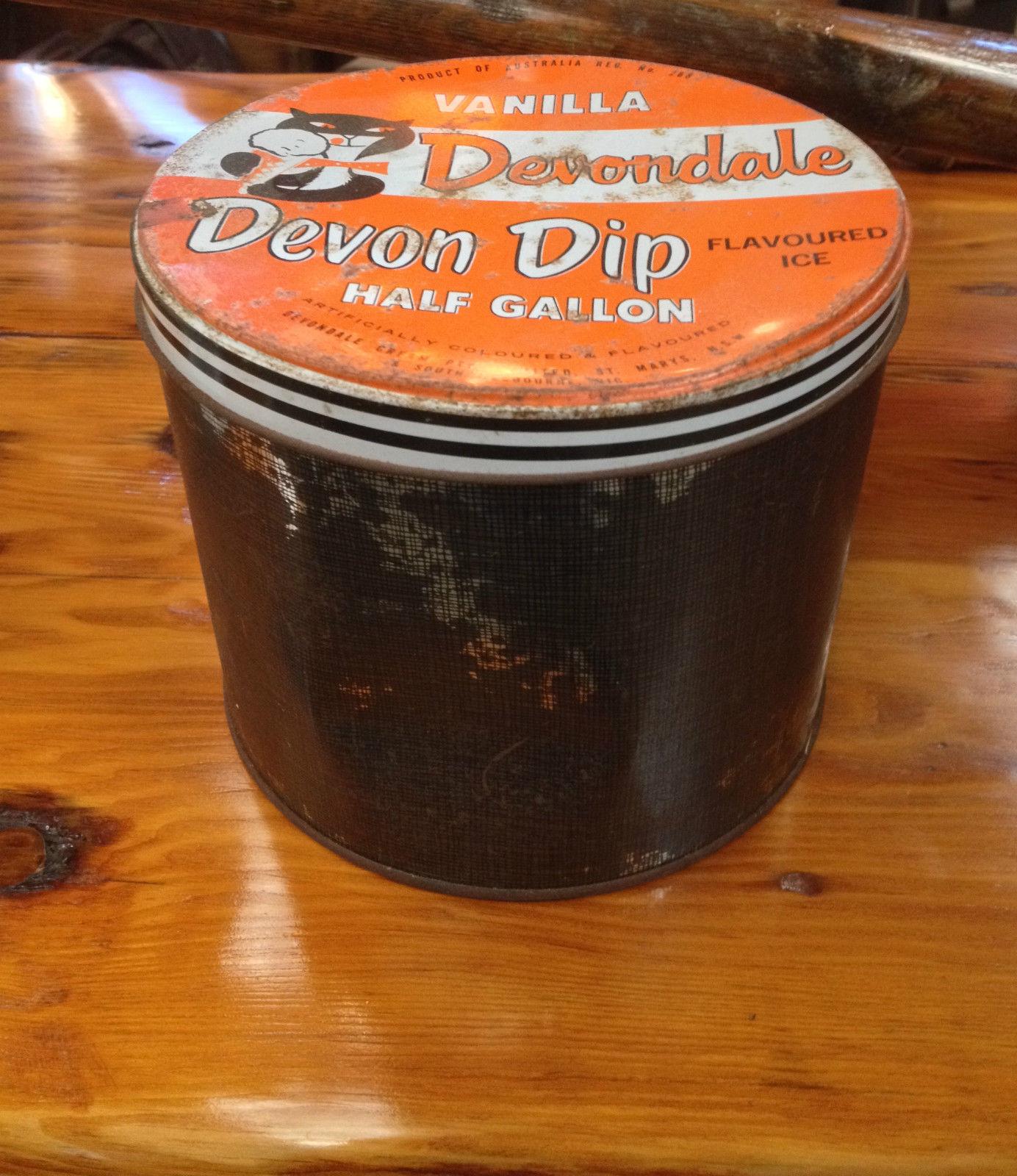 Vintage vanilla devondale flavoured ice cream half gallon tin   Melbourne   Halsey Road Recyclers