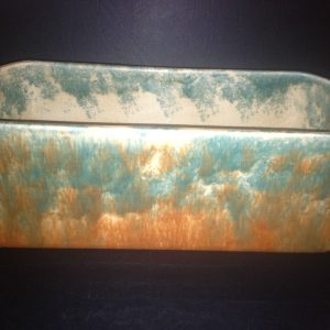 Antique Fowler Pottery Trough Vase Mottled Green & Brown Stamped Thomastown | Halsey Road Recyclers
