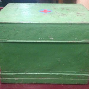 Industrial Vintage Green Medicine First Aid Cabinet Chest Trunk | Halsey Road Recyclers