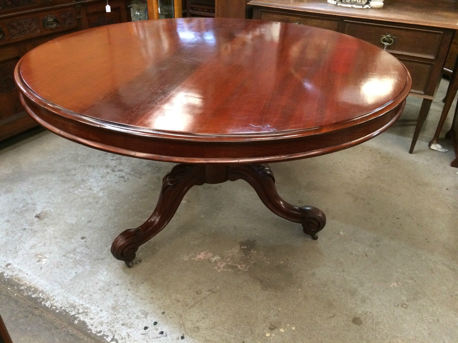 Antique Victorian Cedar Circular Tilt Morning Dining Table | Melbourne | Halsey Road Recyclers