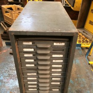 Industrial Vintage Grey Metal 12 File Card Drawers Storage Box | Melbourne | Halsey Road Recyclers