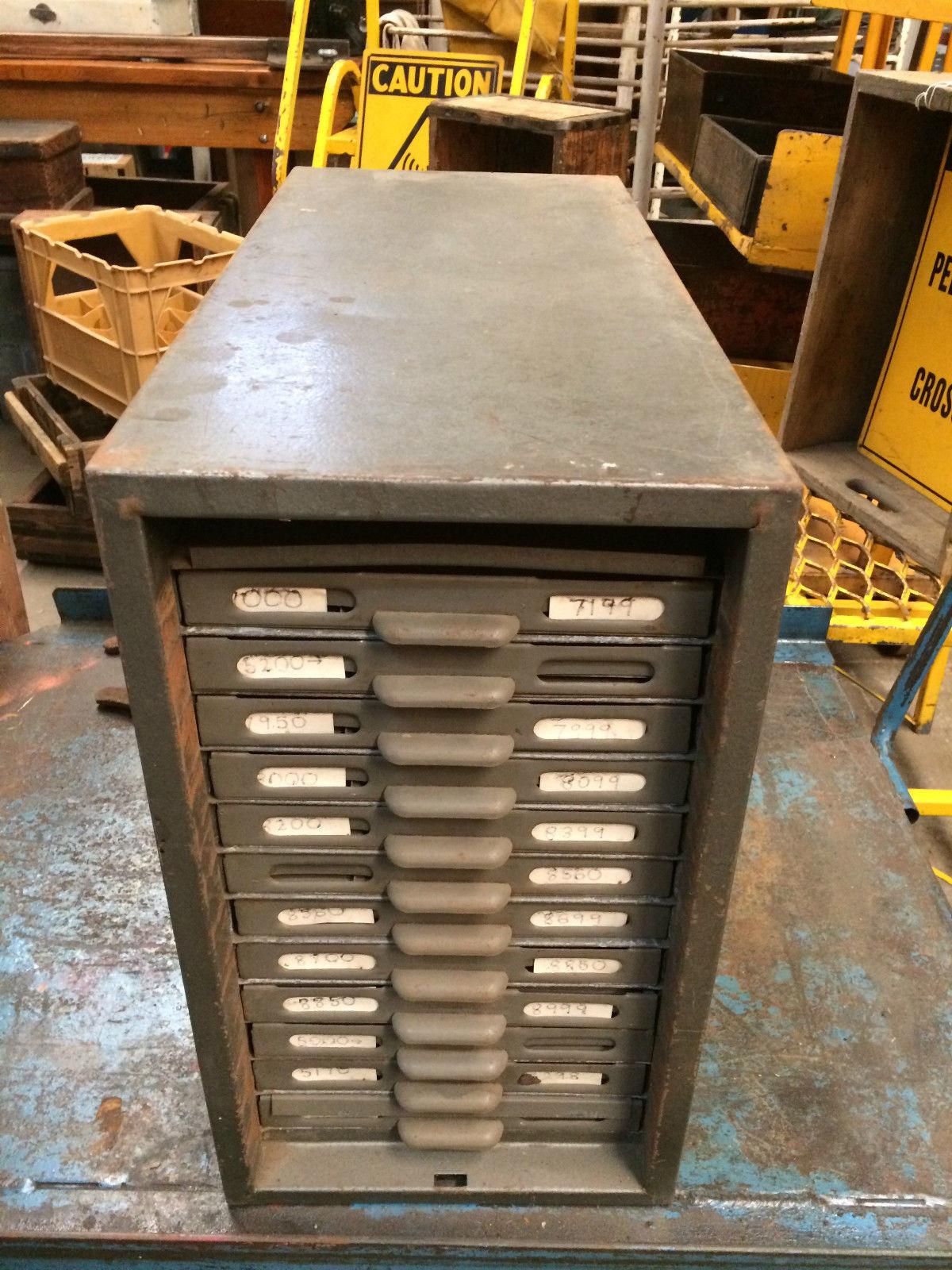 Industrial Vintage Grey Metal 12 File Card Drawers Storage Box | Melbourne | Halsey Road Recyclers