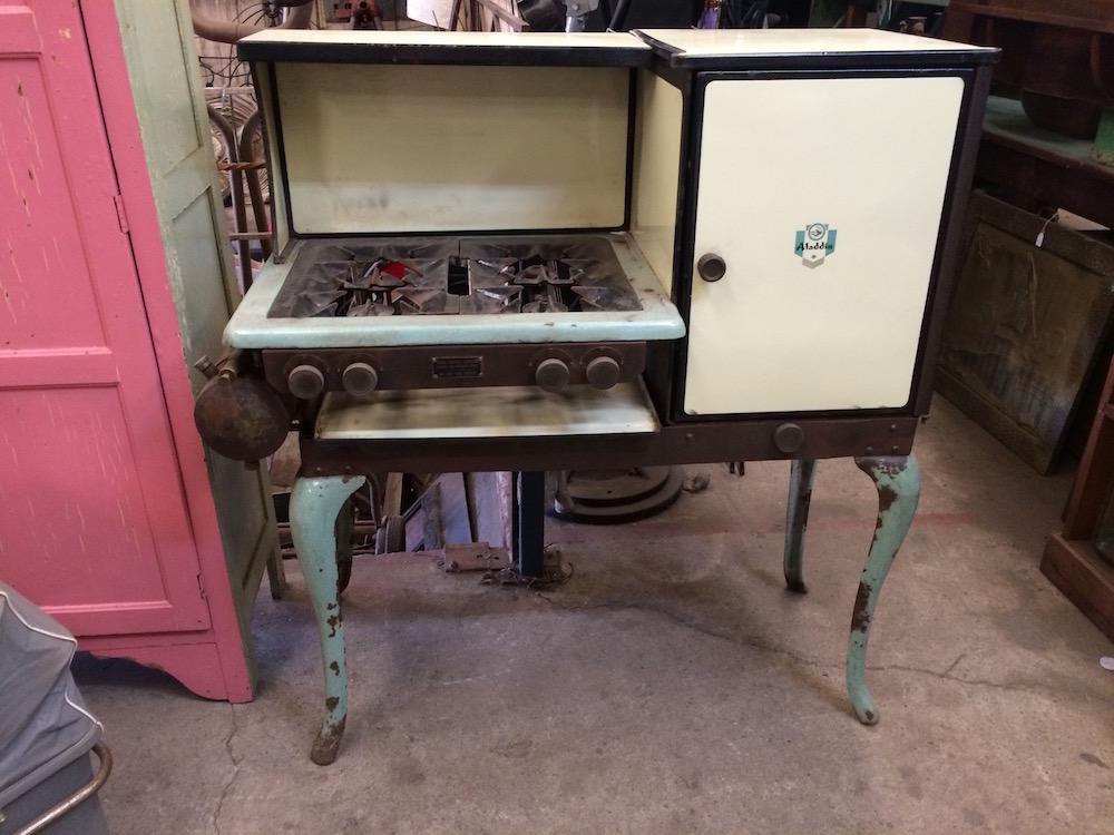 Vintage Aladdin Enamel & Cast Iron Liquid Fuel Stove & Oven|Melbourne|Halsey Road Recyclers