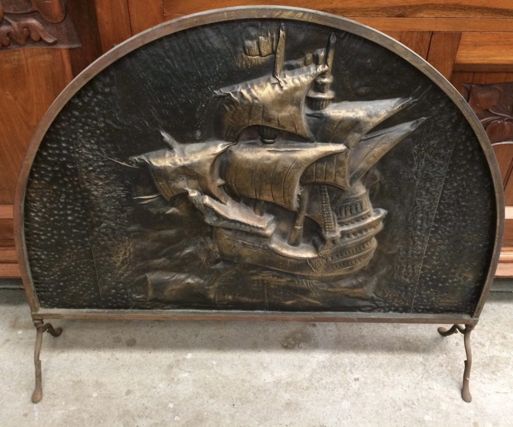Vintage Brass Fire Screen Embossed Theme Nautical Ship| Melbourne | Halsey Road Recyclers