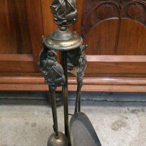 Vintage Brass Fire Tool Set Theme Nautical Ship, Poker,Brush,Tongs & Shovel