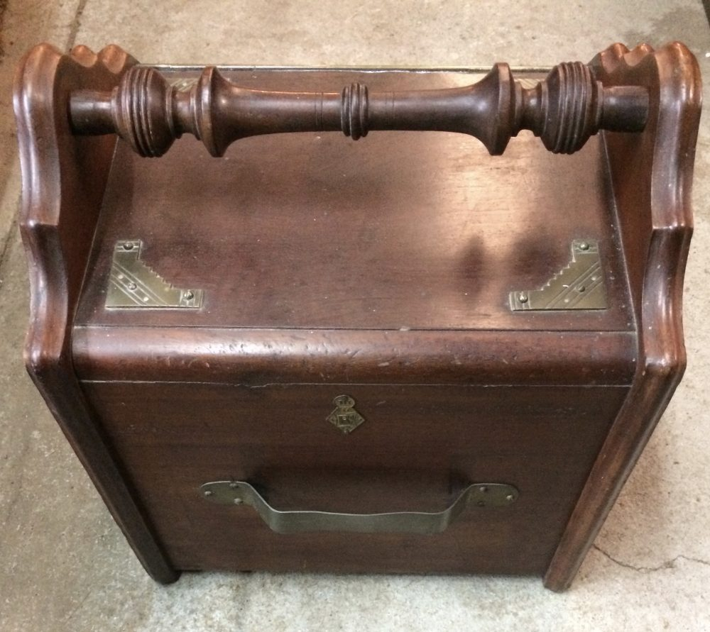 Antique Wooden Coal Scuttle Box with Brass Trims|Melbourne|Halsey Road Recyclers