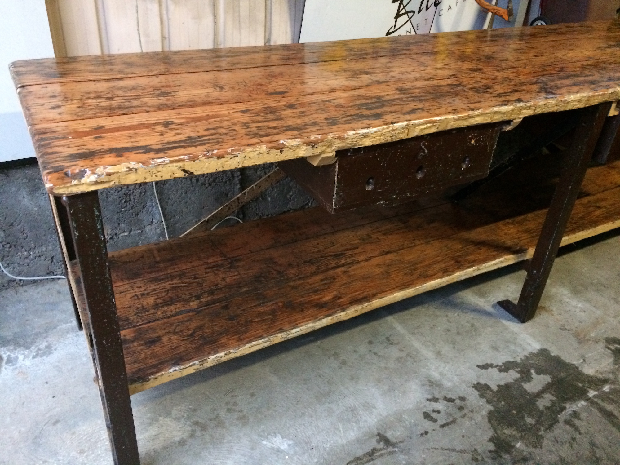 Industrial Vintage Timber Rustic Work Bench Cafe Kitchen Table | Melbourne | Halsey Road Recyclers