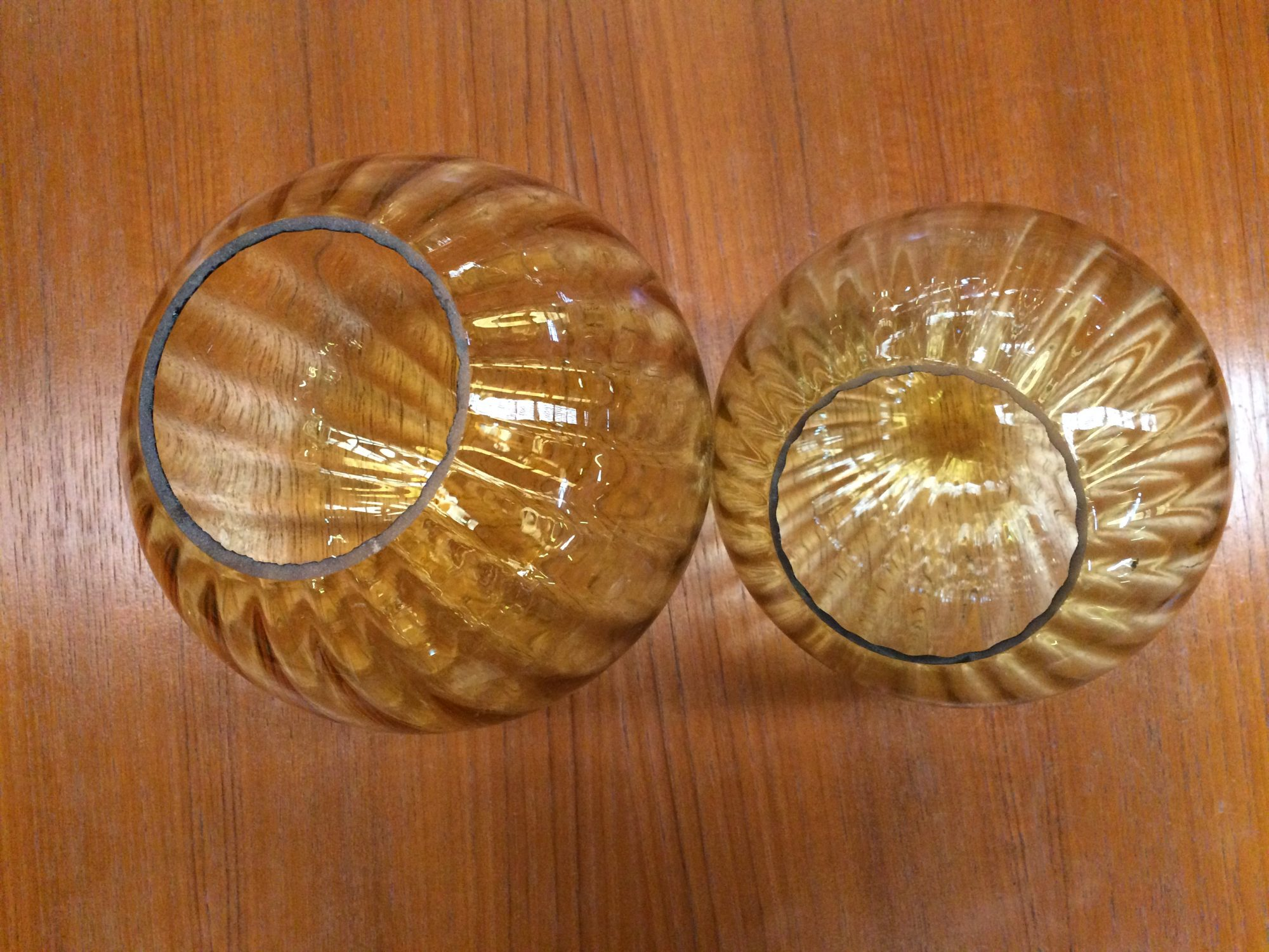Set of 2 Vintage Retro Light Shades Ribbed Amber Glass