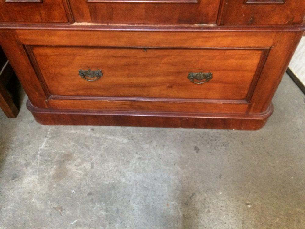 Antique Victorian Two Door Wardrobe Bevelled Edge Mirror Door Blanket Box Drawer| Melbourne| Halsey Road Recyclers