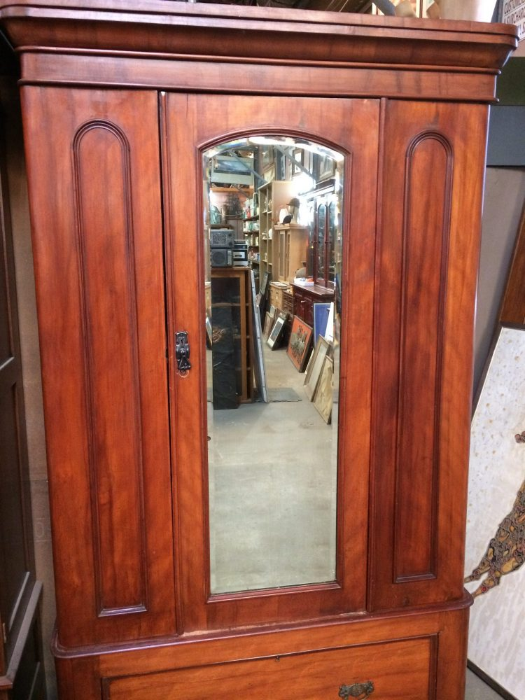 Antique Victorian Two Door Wardrobe Bevelled Edge Mirror