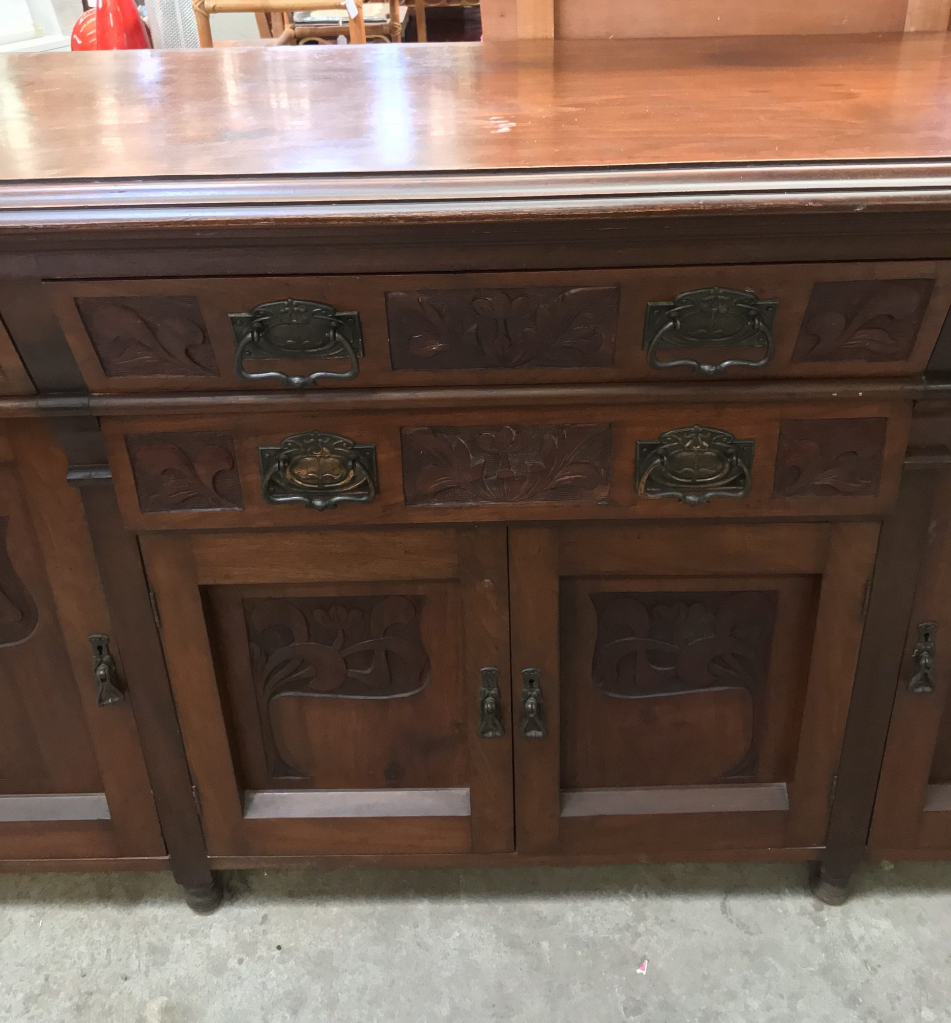 Antique Vintage Art Nouveau Breakfront Sideboard Buffet Display Cabinet Halsey Road Recyclers