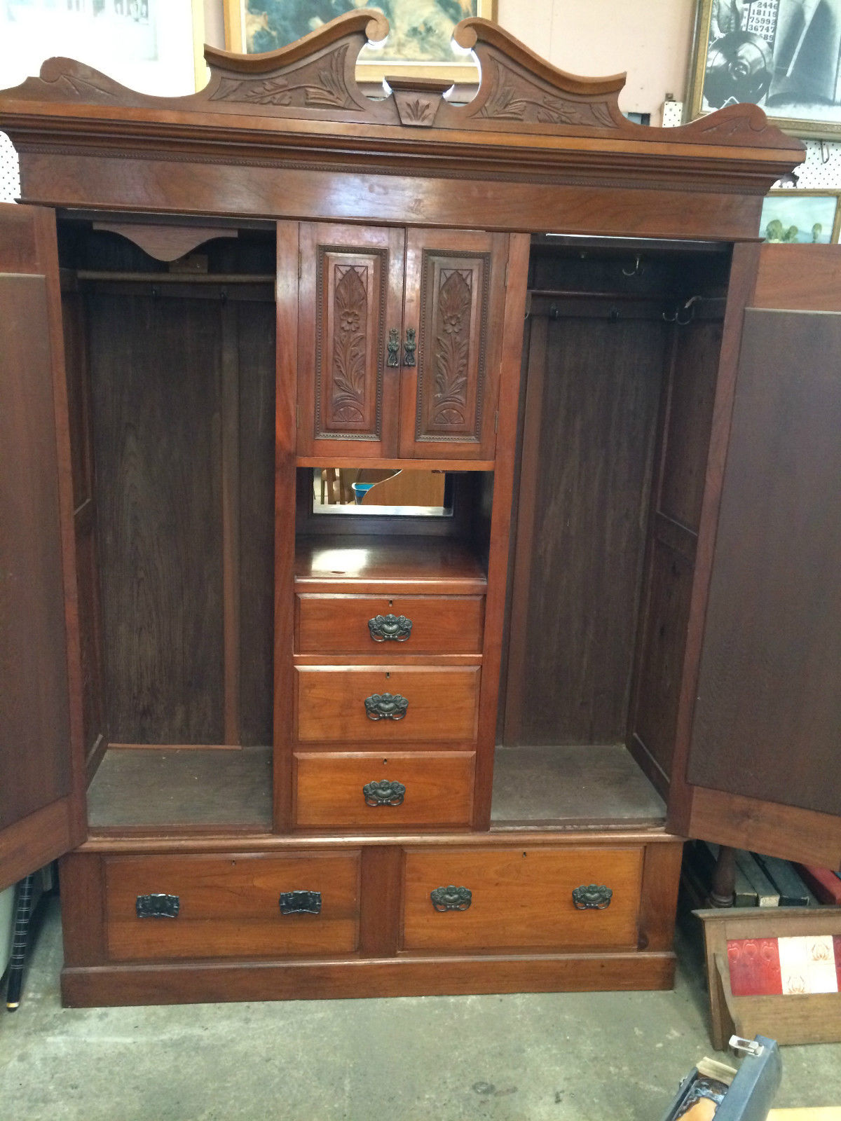 Antique Edwardian Carved Blackwood 4 Doors, 5 Drawers, Bevelled Mirror Wardrobe | Melbourne | Halsey Road Recyclers