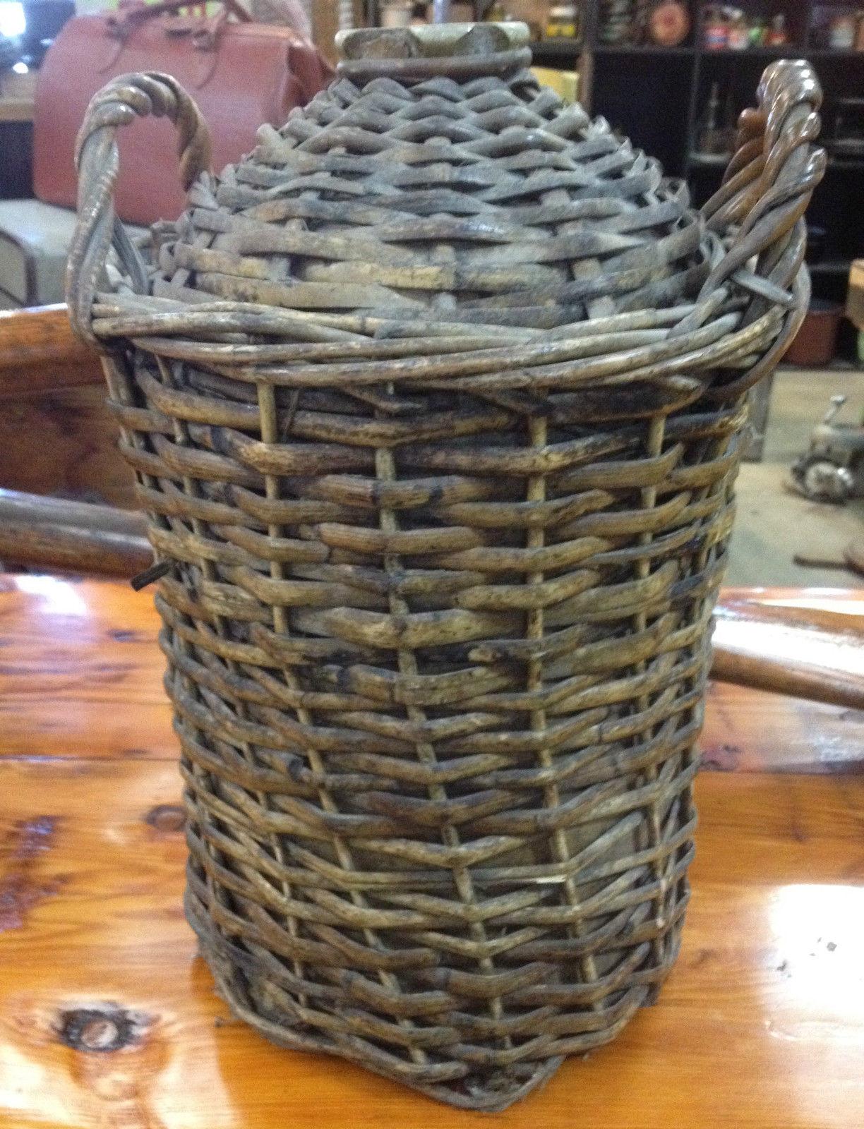Large Vintage Antique Demijohn Jug Bottle In Wicker Cane Basker With Handles   Melbourne   Halsey Road Recyclers
