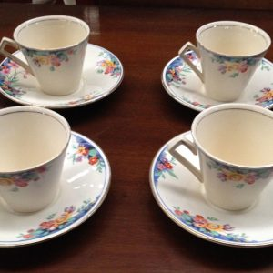 Set Of 4 Royal Winton Ivory Grimwades Cup & Saucer Floral Bouquet Gold Trim | Melbourne | Halsey Road Recyclers