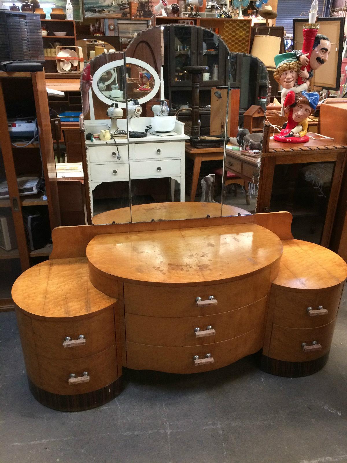 Art Deco Burr Walnut Veneer Glass Dressing Table | Melbourne | Halsey Road Recyclers