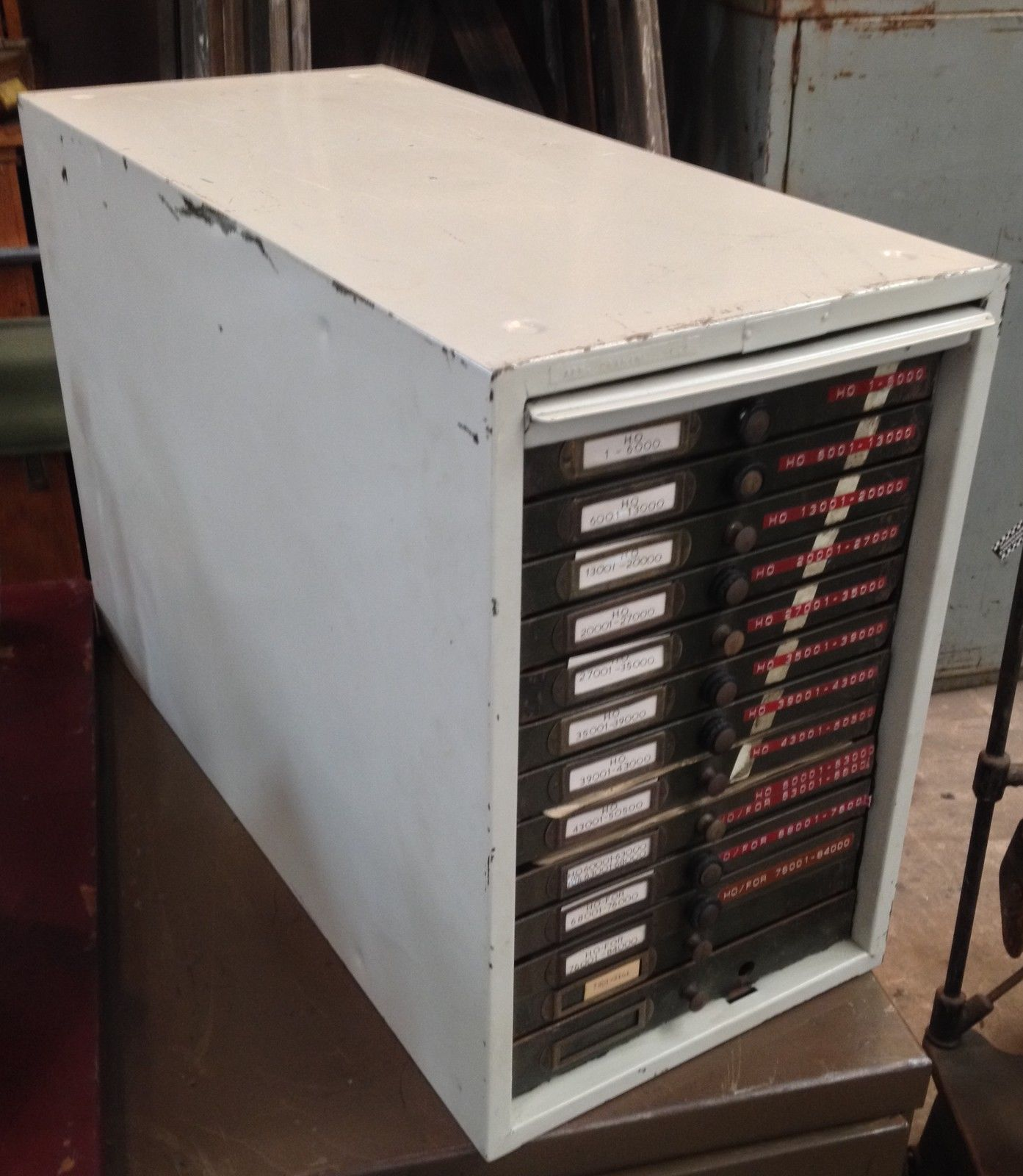 Industrial Vintage Cream & Army Green Metal 13 File Card Drawers Storage Box   Melbourne   Halsey Road Recyclers
