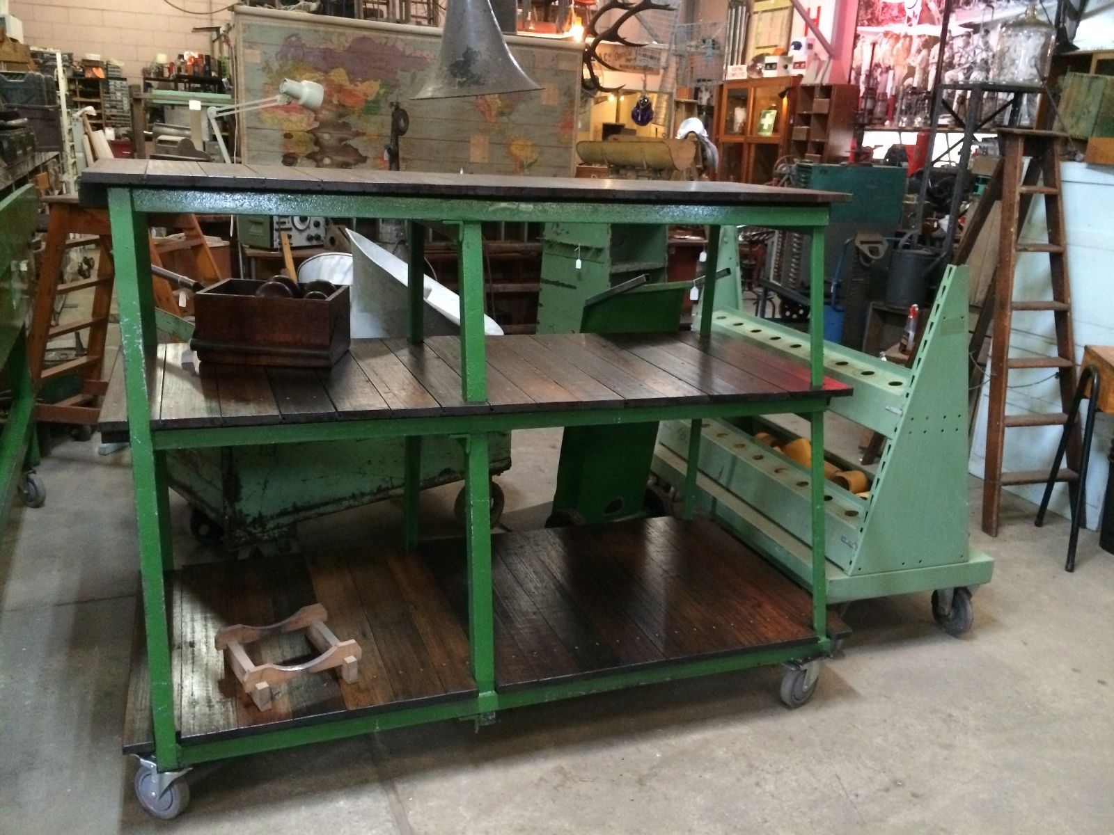 Industrial Vintage Timber Rustic 3 Tier Shelving Bench Cafe Kitchen Unit   Melbourne   Halsey Road Recyclers