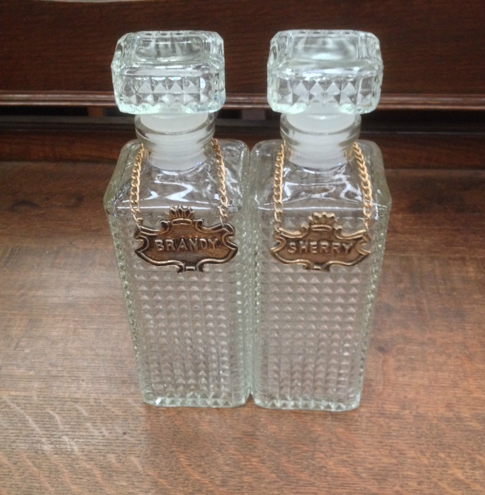 Pair Of Vintage Retro Cut Glass Decanters Brandy Sherry Metal Hanging Labels   Melbourne   Halsey Road Recyclers