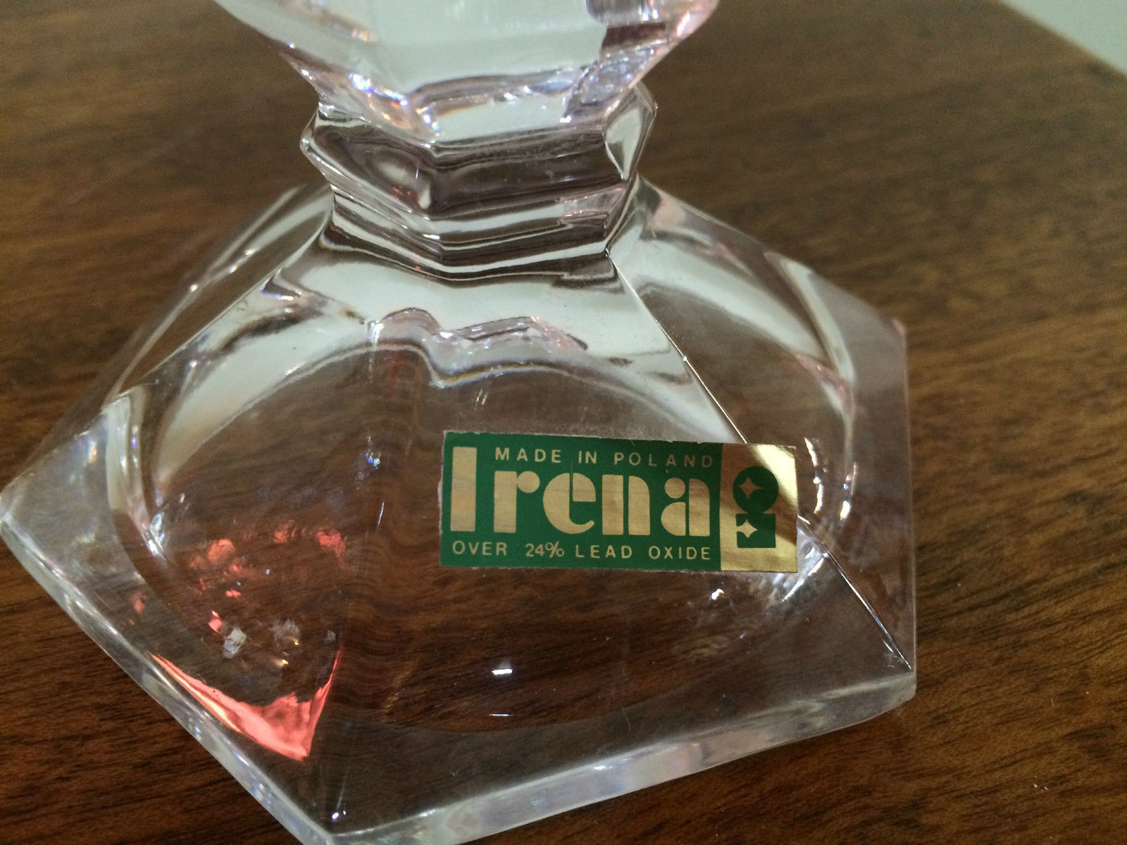 Set Of 2 Vintage Crystal Glass Candle Sticks With Label Irena Made In Poland   Melbourne   Halsey Road Recyclers