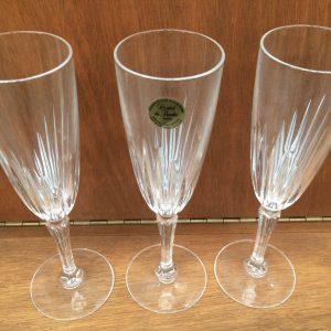 Set Of 3 Vintage Cristal De Flandre Crystal Champagne Glasses With Label | Melbourne | Halsey Road Recyclers
