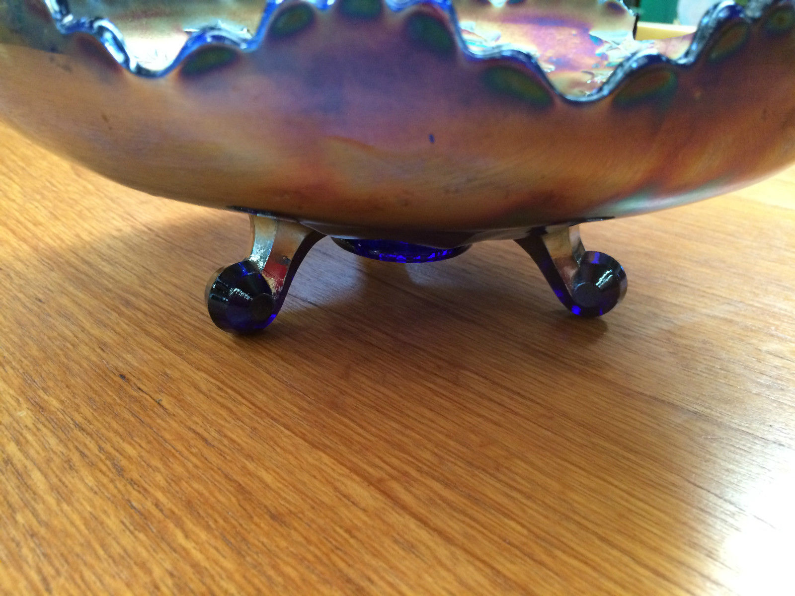 Vintage Stag & Holy Fenton Cobalt Blue Carnival Glass Bowl Ball Feet 26cm | Melbourne | Halsey Road Recyclers
