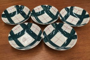 Set Of 5 Retro Vintage Green Cereal Bowl J & G Meakin Habitant Hand Painted   Halsey Road Recyclers