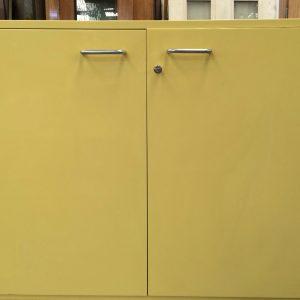 Under Bench Lockable 2 Door Cabinet Kitchen Laundry Cupboard Yellow 2 Pack | Halsey Road Recyclers