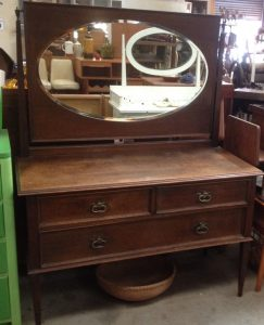 Vintage Antique Oak Dressing Table With Oval Shaped Mirror | Halsey Road Recyclers