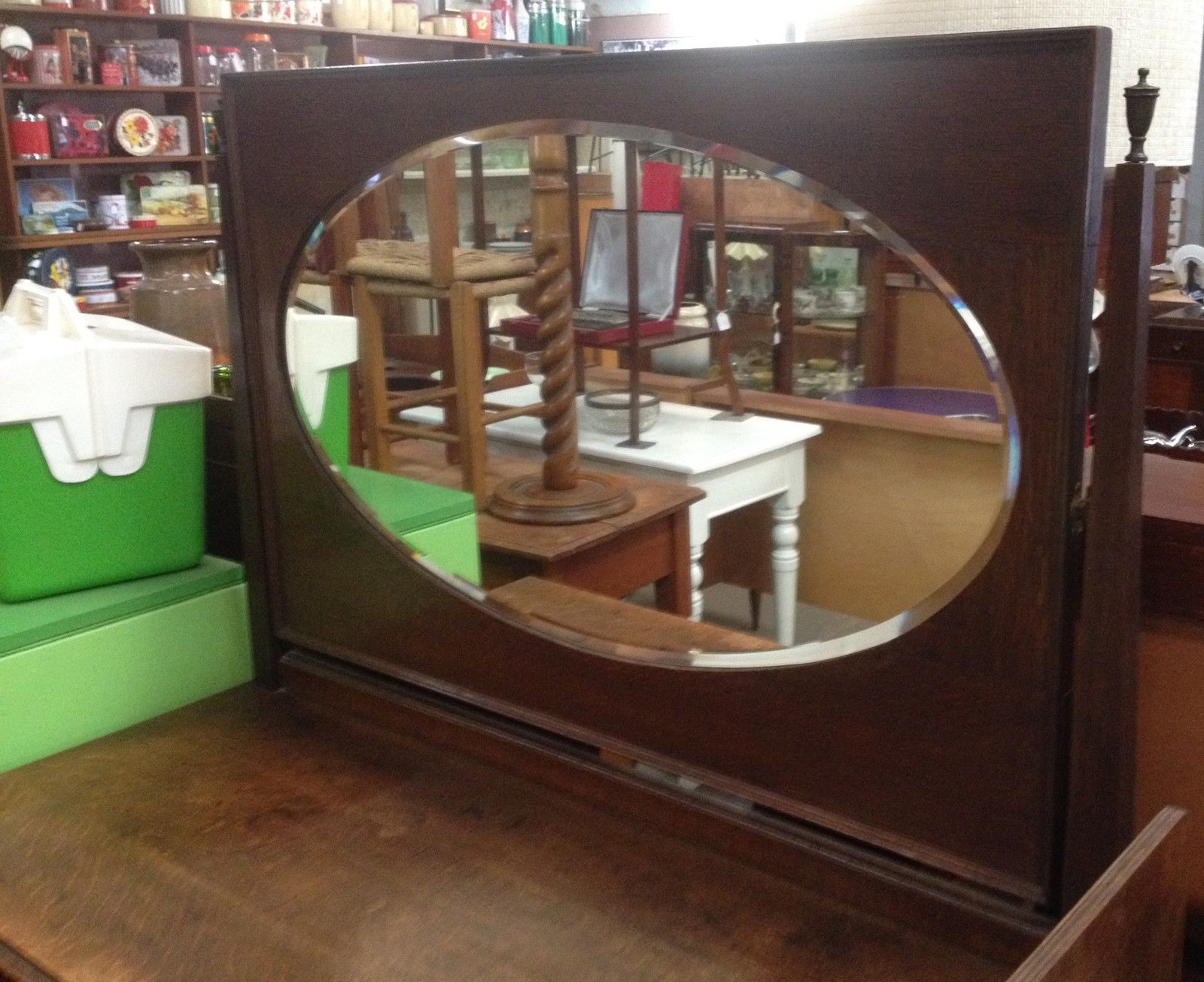 Vintage Antique Oak Dressing Table With Oval Shaped Mirror   Halsey Road Recyclers