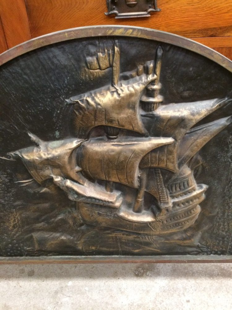 Vintage Brass Fire Screen Embossed Theme Nautical Ship  Melbourne   Halsey Road Recyclers
