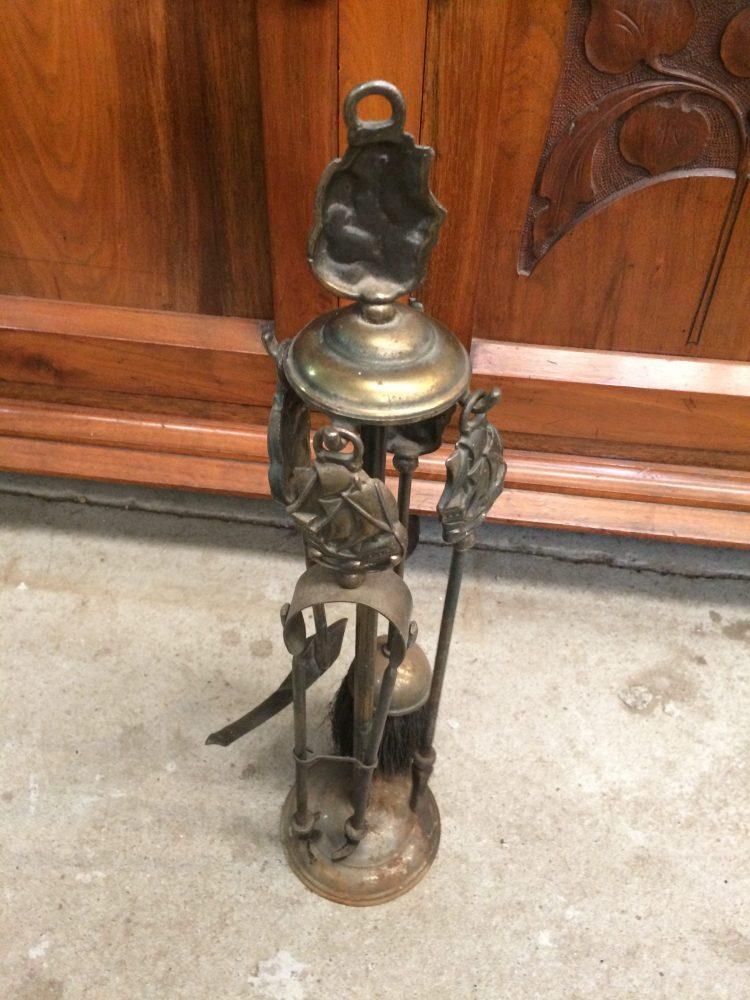 Vintage Brass Fire Tool Set Theme Nautical Ship, Poker,Brush,Tongs & Shovel | Melbourne | Halsey Road Recyclers