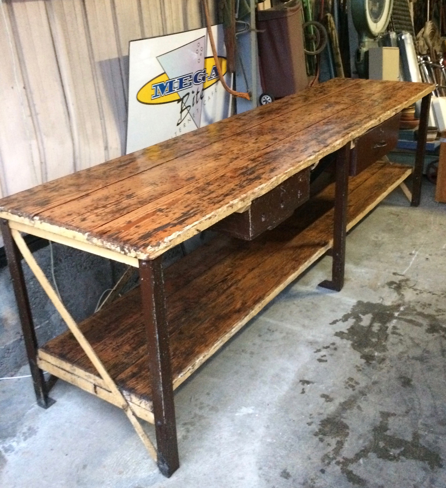 Industrial Vintage Timber Rustic Work Bench Cafe Kitchen