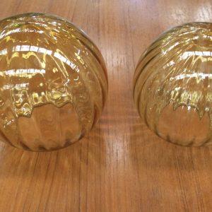 Set of 2 Vintage Retro Light Shades Ribbed Amber Glass