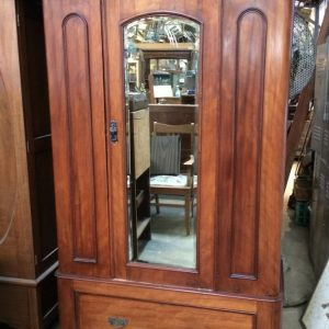 Antique Victorian Two Door Wardrobe Bevelled Edge Mirror Door Blanket Box Drawer| Melbourne| Halsey Road Recyclers